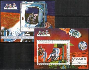 Почтовая марка  с гашением. Космос. Йемен (Y. A. R.). Михель Блок № 129, 130
