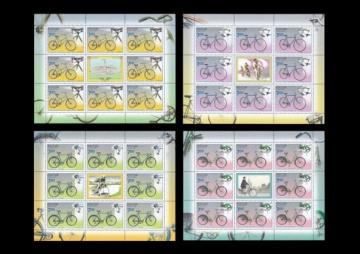 Лист почтовых марок - Россия 2008 № 1286-1289 Памятники науки и техники. Велосипеды