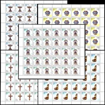 Лист почтовых марок - Россия 1995 № 236 - 240. Ювелирные изделия фирмы Фаберже в музеях Московского Кремля